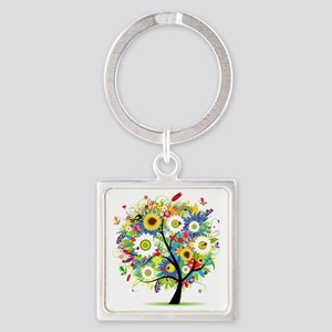 Trees5 [Converted] Square Keychain